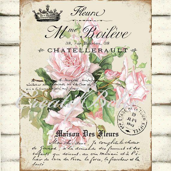 Vendimia francesa Shabby Chic rosas articles por CreatifBelle