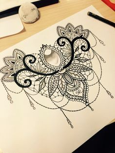 lace lotus tattoo black and white - Google Search