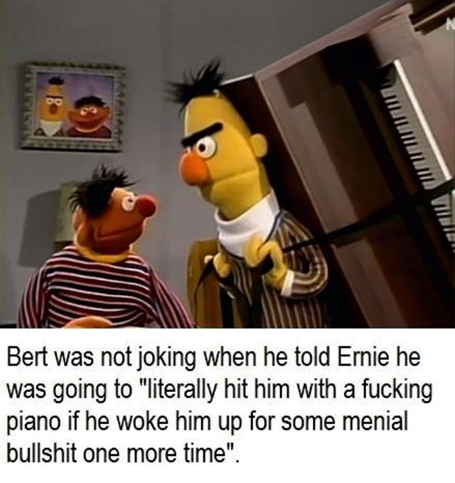 I'd do the same thing.  Even when I was 5 I always wondered why Ernie was such an asshole... in a more innocent manner of course x3