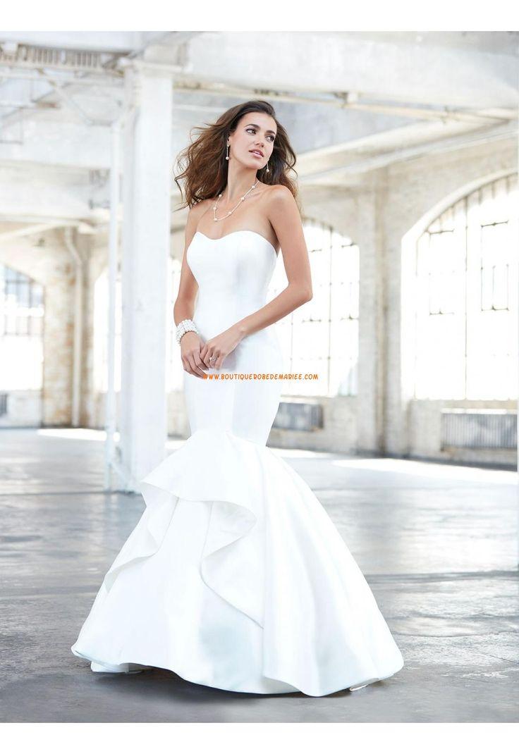 Robe de mariée sans manches dos nu col en coeur sirène