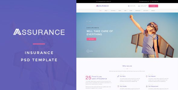 Assurance - Insurance PSD Template by ifathemes Assurance : Insurance PSD Template suitable for Businesses, Finance and Insurance. That Includes Product Pages and 20 Total Pages.