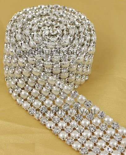 Wholesale P6 1 Yard 6 Rows Diamond A Rhinestone and Pearl Wedding Cake Banding Trim Ribbon Deco, $10.86/Yard | DHgate