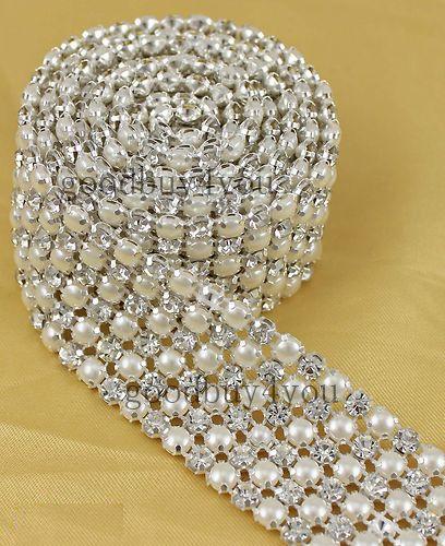 Wholesale P6 1 Yard 6 Rows Diamond A Rhinestone and Pearl Wedding Cake Banding Trim Ribbon Deco, $10.86/Yard | DHgate