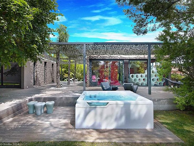 Hotels & Resorts:Charming Modern Hot Tub In Outdoor Cozy Villa France Along With Wooden Terrace Also Lounge Chairs Plus Net Like Translucent Roof Sun And Then It's Cool Bathtub Outdoor Ideas At Backyard Villa To Inspire You Outstanding Cozy Villa With Nicely Colorful and Lovely Landscaped in France