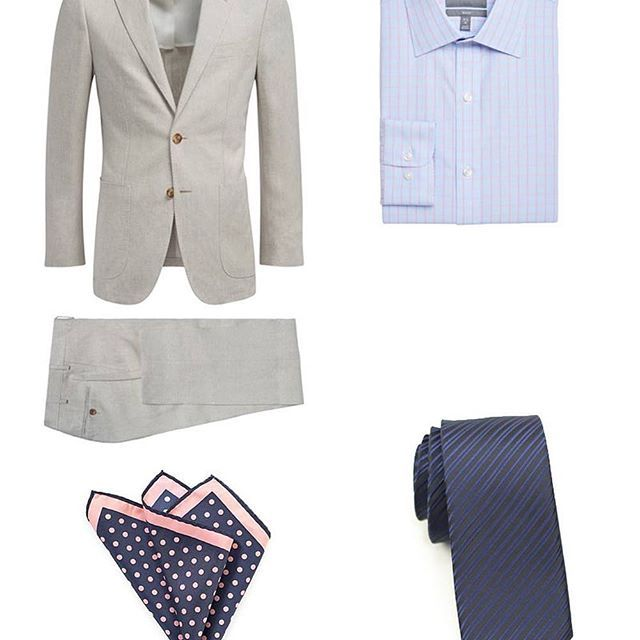A look at Combo # 1: A light brown linen suit, pink tattersall shirt, blue striped necktie, and pink + navy dot hanky. Vote now on your favorite look to win $100 to Cheap-Neckties! Ends 3/30.   .  .  .  #menswear #mensstyle #mensfashion #giveaway #contest #vote #win #gq #dapper #style #styletip #spring #ootdmen #wincheapties