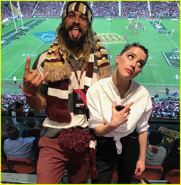 Aquaman Co Stars Jason Momoa Amber Heard Hit Up Rugby Match With His Cute Kids Jason Momoa Amber Heard Jason