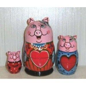 Funny Pig Family 3set  #russiandoll #matryoshka #dollsindolls #decor #traditional #kids #toys #handmade
