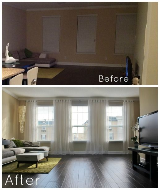 Bright Living room before and after- It's amazing how hanging curtains high and wide on one continuous DIY curtain rod make such a big diff...