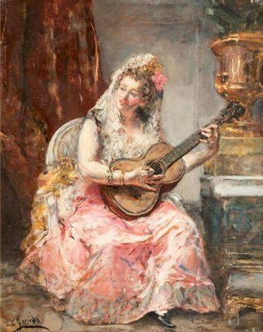 Espagnole jouant de la guitare by Eduardo León Garrido