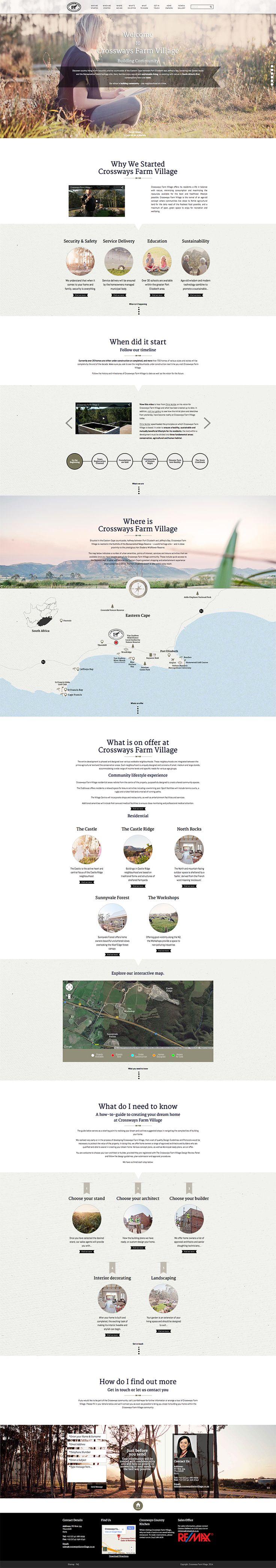 Crossways Farm Village -  Web Design, UI/UX by Louw Sevenster and Helna Brown of Boomtown Strategic Brand Agency.