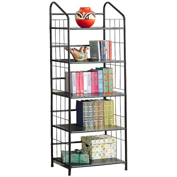 Coaster Furniture 2895 5 Tier Casual Metal Bookcase in Black