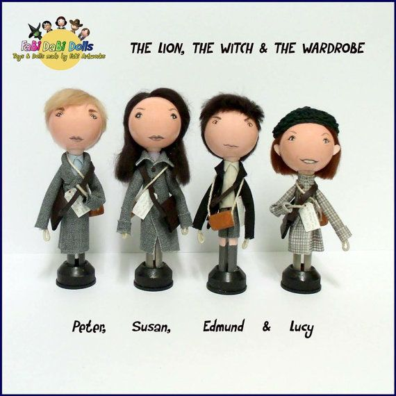 Peter, Susan, Edmund and Lucy - The Chronicles of NARNIA - The Lion The Witch And The Wardrobe peg dolls from FaBI Dabi Dolls