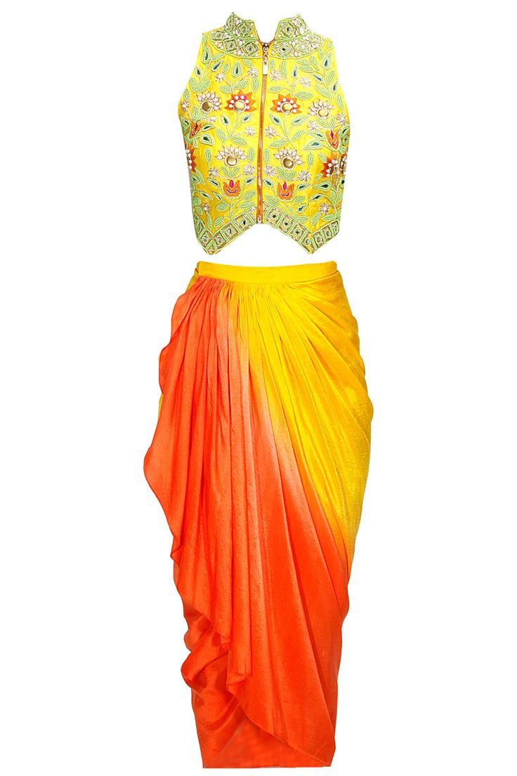 Lemon yellow floral bead and mirror work crop jacket with yellow ombre dhoti style wrap available only at Pernia's Pop-Up Shop.