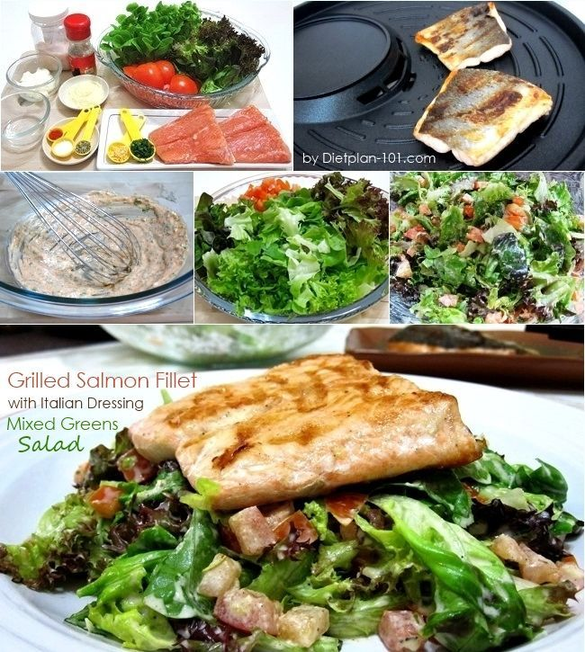 Grilled Salmon Fillet with Italian Dressing Mixed Greens ...
