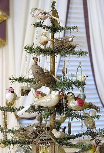 Antique Feather Tree with Clip-On Bird Ornaments.