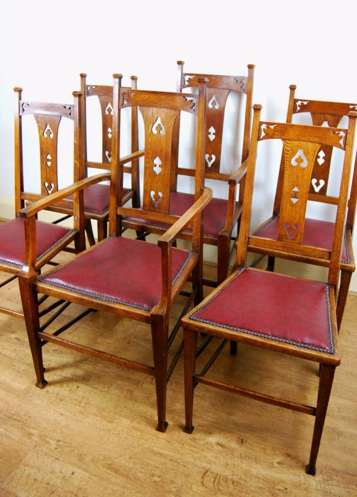Lovely set of six Arts & Crafts oak dining chairs - For sale at The Sitting Place