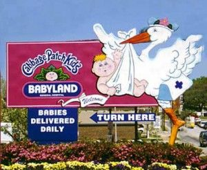 The Stork sign in downtown Cleveland, Georgia points the way to the Babyland General Hospital, where the original Cabbage Patch Kids came from.