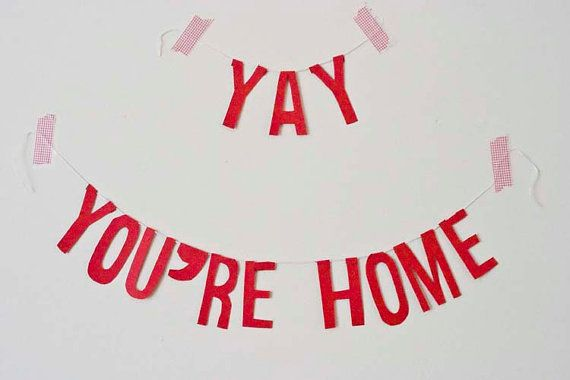 Welcome Home Banner Yay You're Home by PointlessPrettyParty, £12.00
