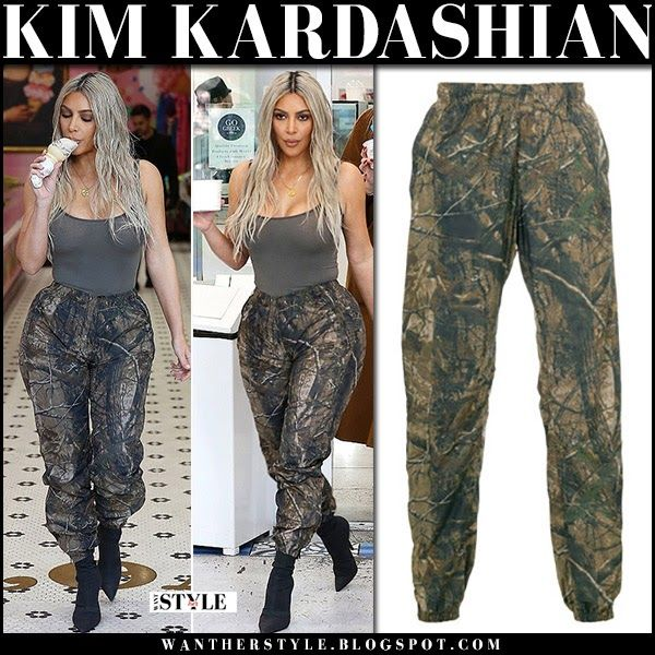 65d9dbd1ae4 Kim Kardashian in khaki top and khaki green camouflage print pants on  January 12 2018  streetstyle