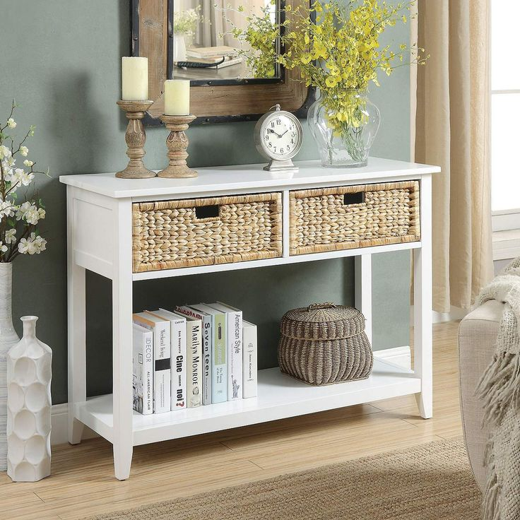 Wood Console Table, White Console Table With Storage Baskets
