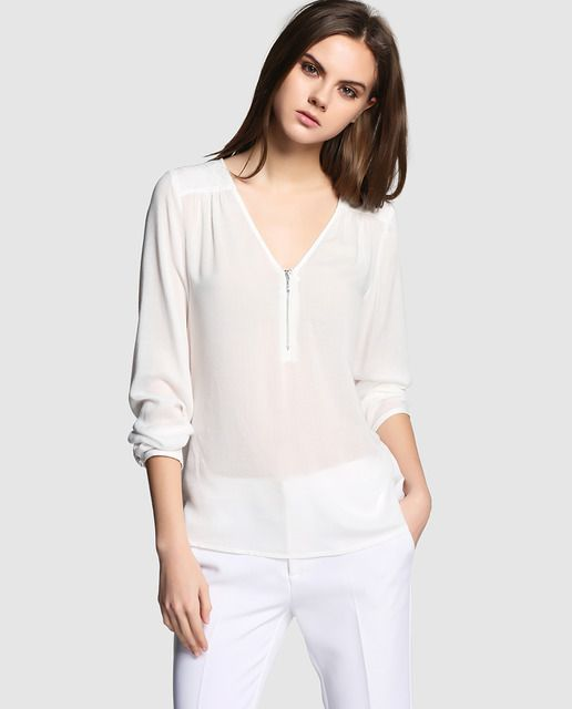 Blusa de mujer Naf Naf blanca con cremallera