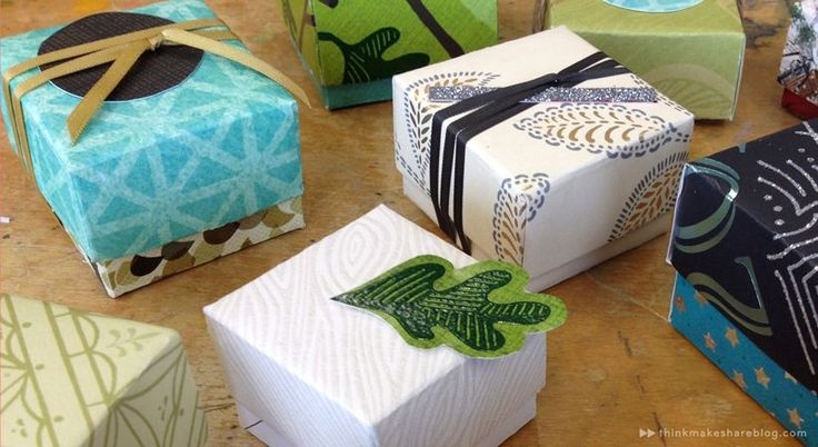 Learn to make tiny gift boxes out of last year's greeting cards Greeting-Card-Gift-Boxes-_-thinkmakeshareblog