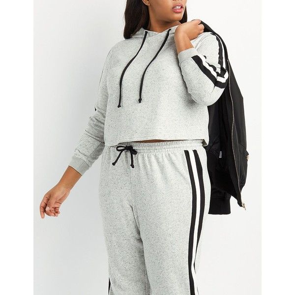 Charlotte Russe Varsity Stripe Cropped Hoodie (€24) ❤ liked on Polyvore featuring plus size women's fashion, plus size clothing, plus size tops, plus size hoodies, heather gray, sweatshirt hoodies, long-sleeve crop tops, women's plus size hooded sweatshirts, crop top and hooded pullover