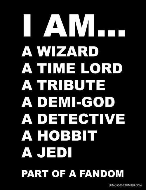 I am a fangirl!!! so harry potter dr.who the hunger games perry-jackson Sherlock Holmes the hobbit star wars