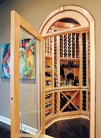 The #wine room in the kitchen was created from a pantry. Mike loves having it accessible to guests. #housetrends