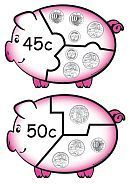 Money Games Puzzles - Australian Printable Money Piggies - K-3 Teacher Resources