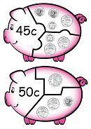 Money Games Puzzles - Australian Printable Money Piggies - K-3 Teacher Resources