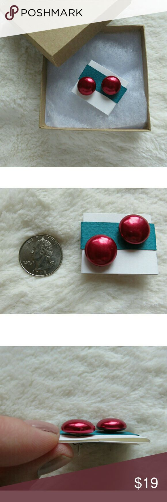 Vintage Wine Red Candy Button Upcycled Earrings Pearly wine burgundy red with matching silver tone backs! Have been cleaned & sanitized with alcohol towelettes. Upcycled vintage style earrings, comes as shown on recycled paper backing and in gift box. Keep for yourself or pair with a Starbucks or Target gift card for the perfect Christmas gift! Packed carefully and shipped fast! Thanks so much, Jen #1050 Vintage Jewelry Earrings