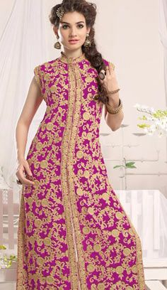 Fashionable Latest Pink Georgette A Line Palazzo Suit, Dress