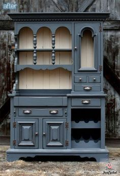 This is a dream hutch. I love the colour, the busyness, the height, everything! click to see more hutch before and afters, they are all quite lovely :)