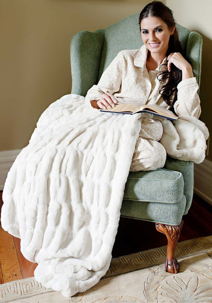 Exceptionally lush. Machine Washable. 100% Cozy - The Couture Faux Fur Throw in Ivory