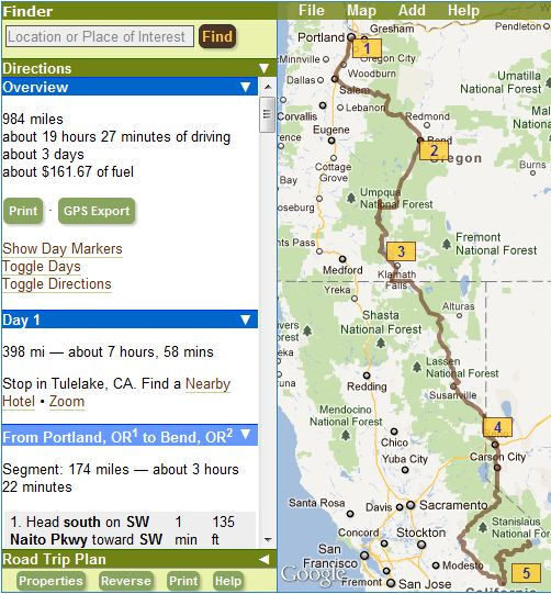 myscenicdrives.com's Road Trip Planner allows you to plan your entire road trip quickly and easily.