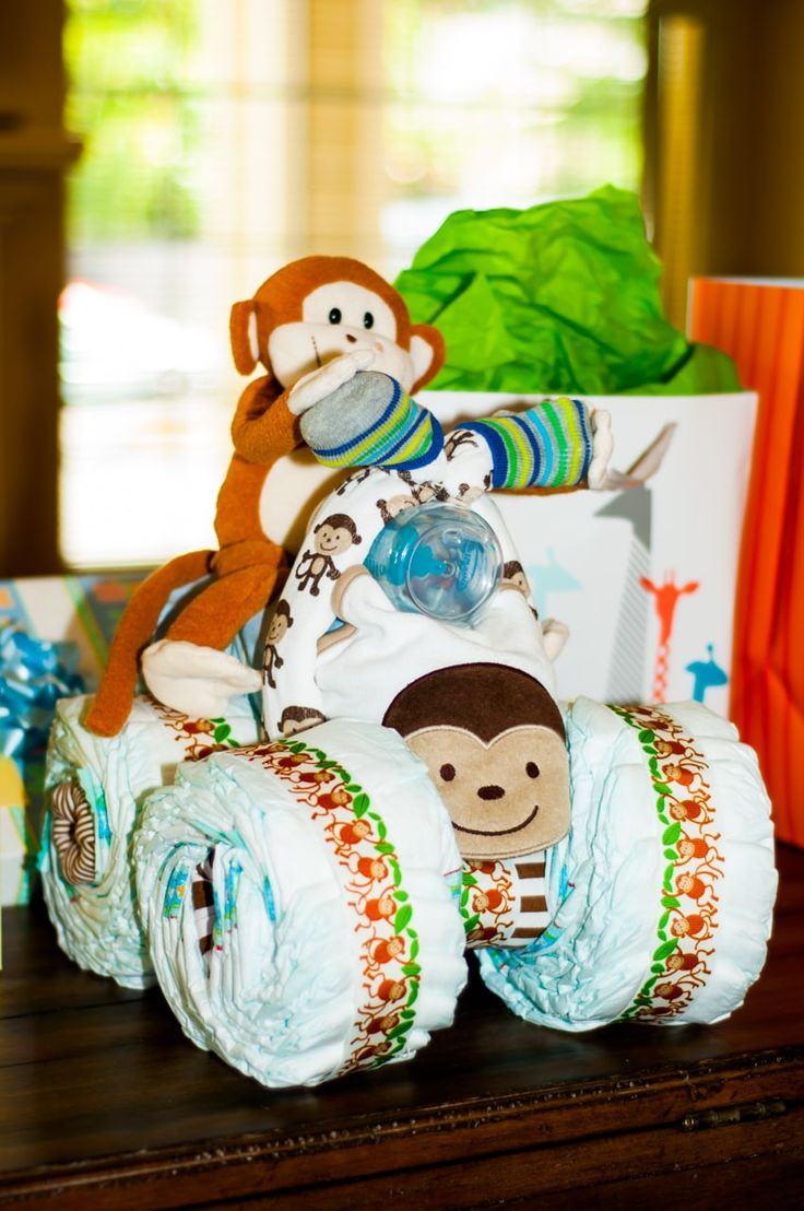 Monkey Motorcycle Diaper Cake Is Perfect For A Baby Shower