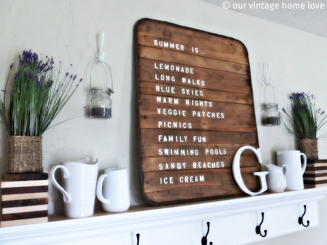 Summer mantle sign: Spring Summer Mantel Ledge, Signs, Craft, Mantle Ideas, Decorating Ideas, Vintage Homes, Things, Blog, Wall