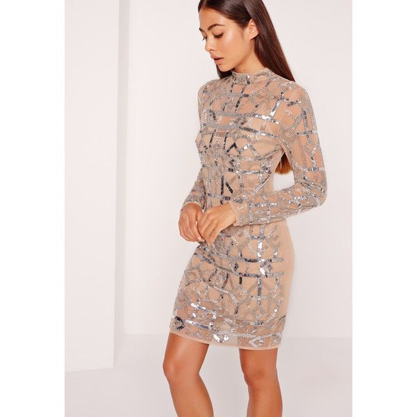 Missguided Premium High Neck Embellished Bodycon Dress ($240) ❤ liked on Polyvore featuring dresses, silver, sequin cocktail dresses, sequin bodycon dress, sexy short dresses, long-sleeve mini dress and pink cocktail dress