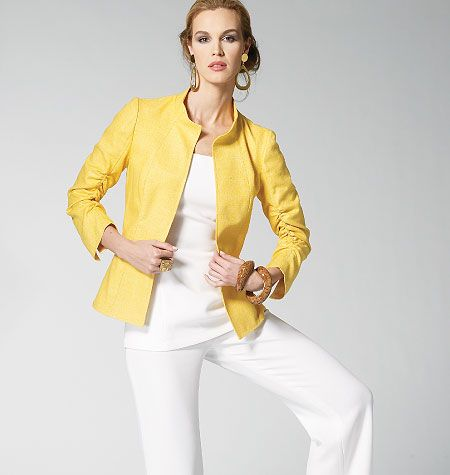 Fantastic Vogue sewing pattern - collarless jacket with ruched sleeves