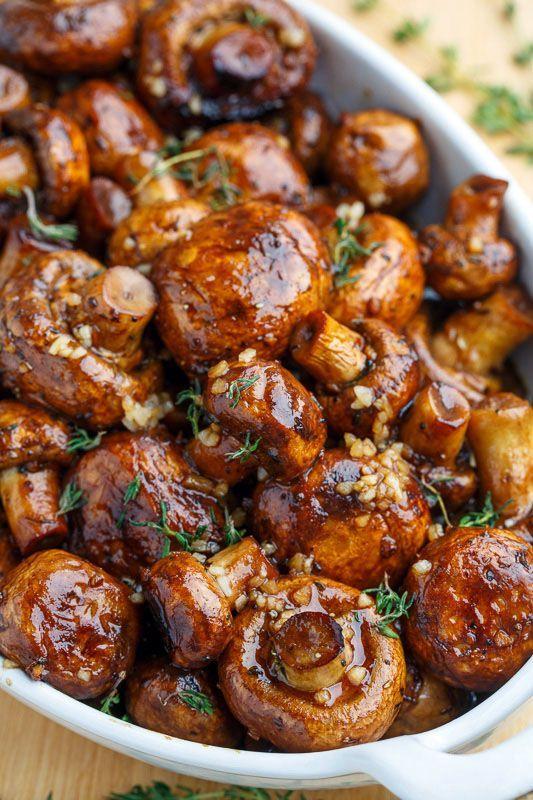 Balsamic Soy Roasted Garlic Mushrooms via: @Pinxer