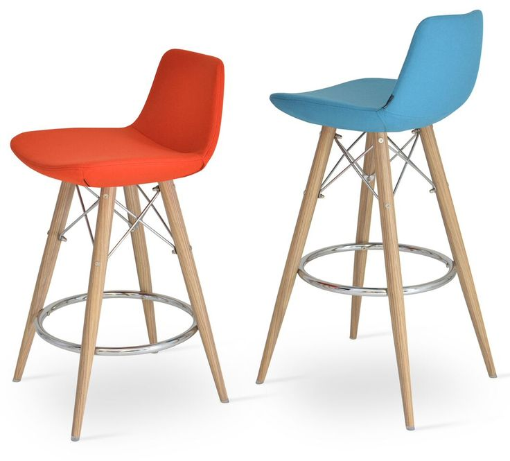 """This stool is a unique stool with a comfortable upholstered seat and backrest on a powder-coated steel frame. Each leg is tipped with a plastic glide inserted to the foot. With its chromed steel tubular footrests, it becomes an ideal solution for kitchen and bar counters. The footrests are fixed inside the four-leg frame. The seat has a steel structure with """"S"""" shape springs for extra flexibility and strength. This steel frame molded by injecting polyurethane foam."""