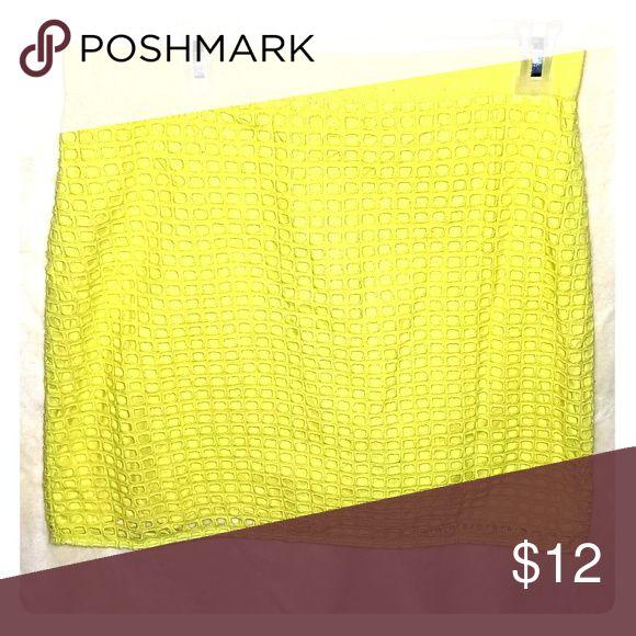 LOFT Neon Yellow Skirt Cute neon yellow shirt with detail. LOFT Skirts Midi