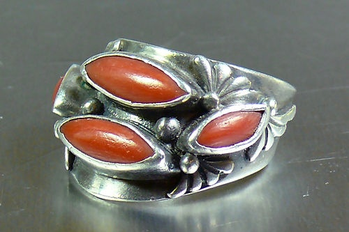 Vntg Native American Navajo Coral Sterling Silver Ring C1975 Alice Platero 8.5