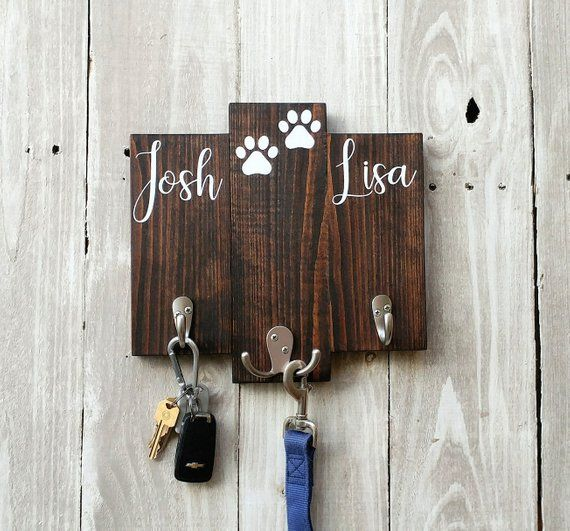 Personalized Key Holder For Wall His Hers Key And Leash Hanger Entryway Key Hook Housewarming Gif Personalized Key Holder Wall Key Holder Key Hanger