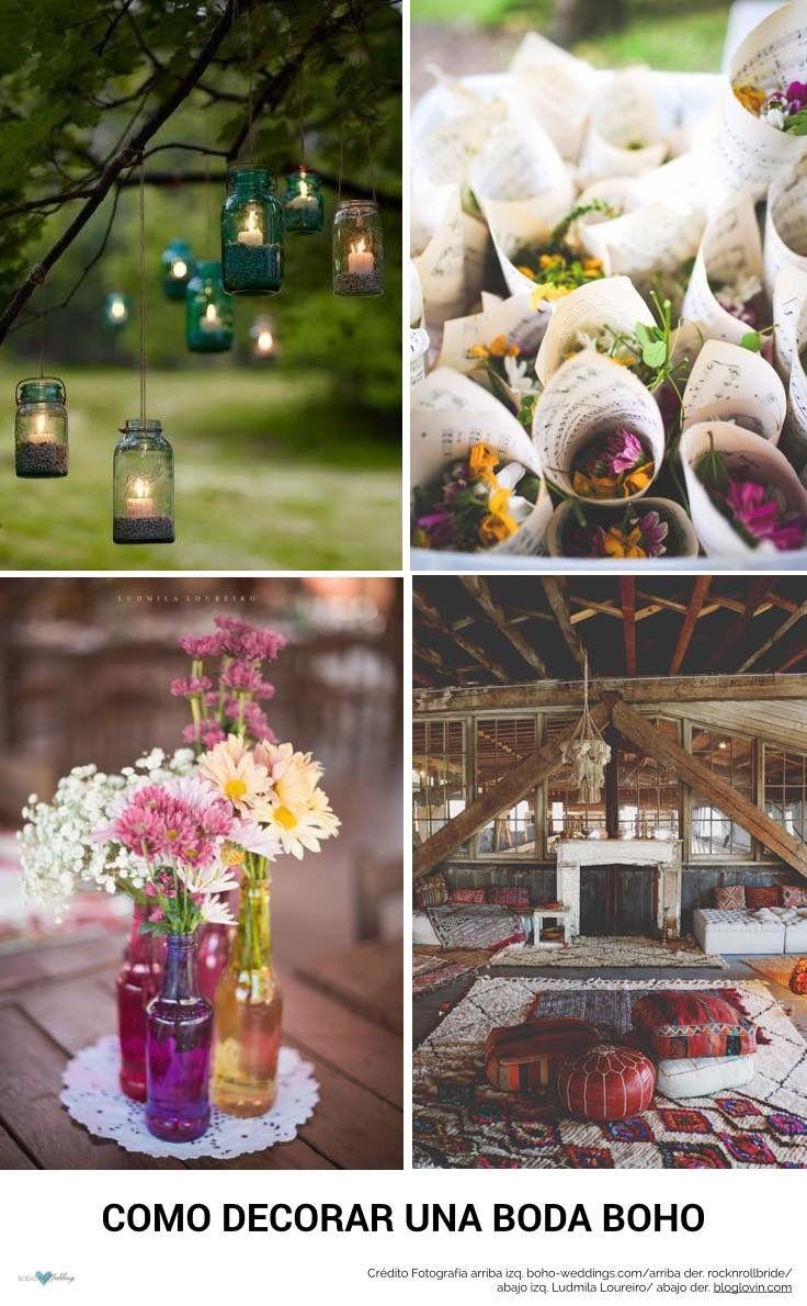 Como decorar una boda boho. Preciosa decoracion del jardin para una fiesta bohemia. Botellas de diferentes colores con flores silvestres, Confeti de flores secas una idea original y bohemia, Inspiración marroqui para una boda boho.