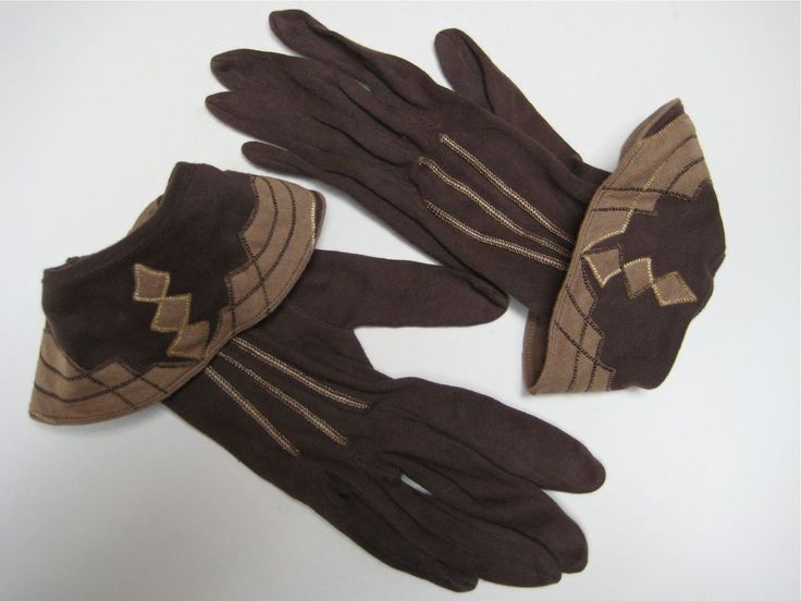 Art Deco Applique Cotton Gloves in Chocolate & Toffee c1940s -- For sale on Ruby Lane Vintage and Antique Clothing and Accessories