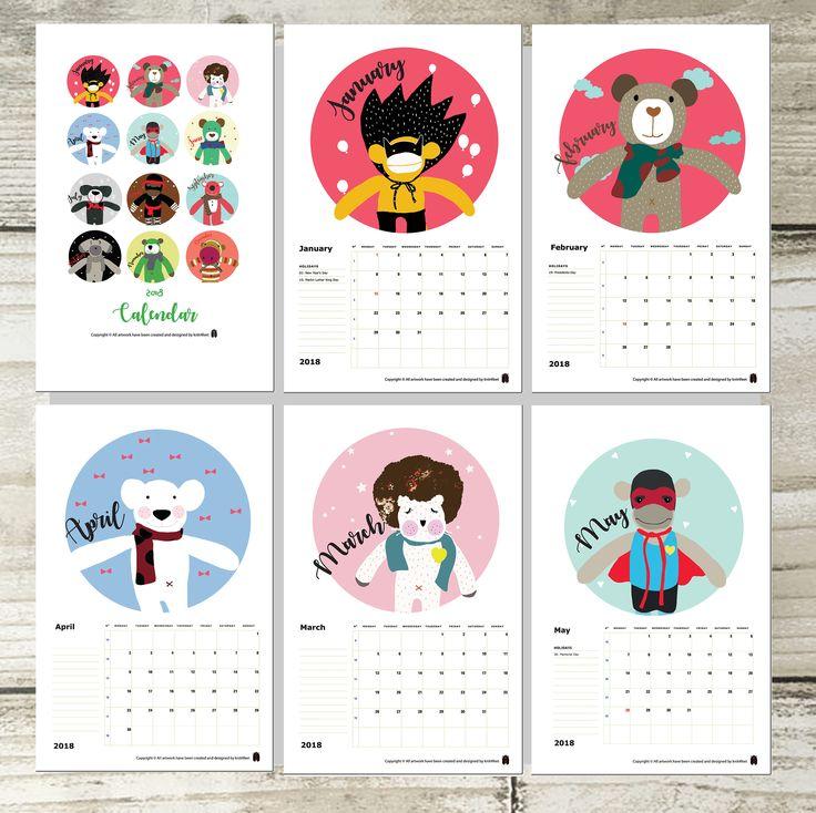 2018 Calendar, Wall Calendar, Office Calendar, Art Print, Animal Illustration, Home Decor, PDF Instant Download by KNIT4FEET on Etsy https://www.etsy.com/listing/555967268/2018-calendar-wall-calendar-office
