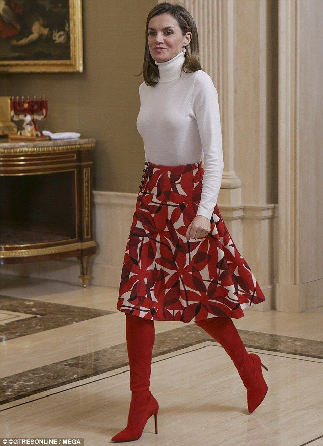 bd6774d277d Today  Queen Letizia of Spain donned the suede knee-highs as she joined  husband King Felip.