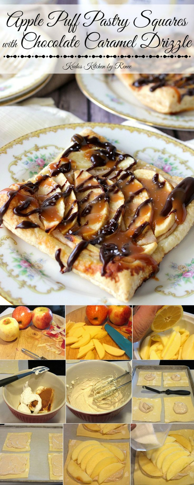 When it's time for dessert, and you want to impress but not spend hours in the kitchen preparing, then these Rustic Apple Puff Pastry Squares with a Chocolate Caramel Drizzle are just what the dessert doctor ordered. - Kudos Kitchen by Renee - www.kudoskitchenbyrenee.com